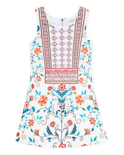 Floral & Aztec Print Sleeveless Dress  Size 7-14