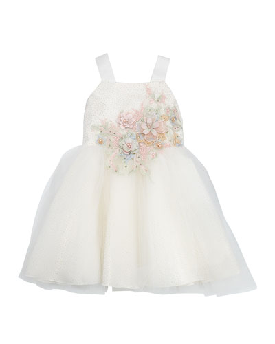 Paulina Embroidery & Tulle Ballet Back Dress  Size 4-6X
