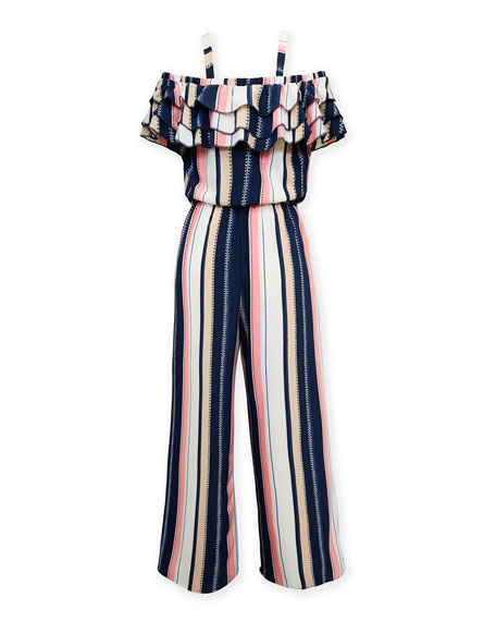 Multi-Stripe Off-the-Shoulder Jumpsuit, Size 7-16
