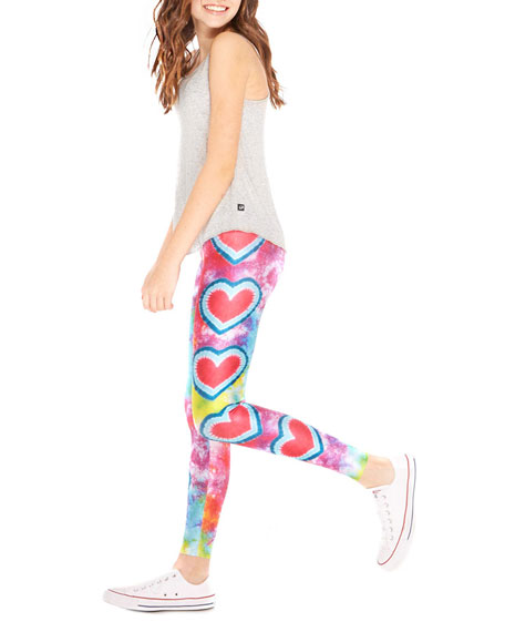 Big Love Tie Dye Hearts Print Leggings, Size 7-16