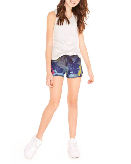 Deep Sea Camo Print Mesh Athletic Shorts, Size 7-16