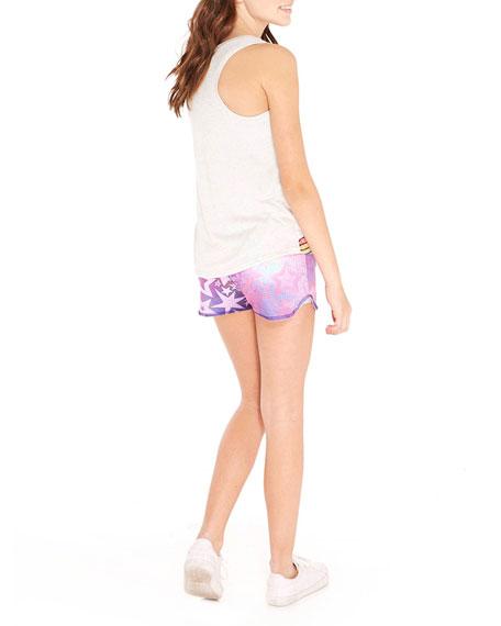Pinhole Mesh Star-Print Shorts, Size 7-16
