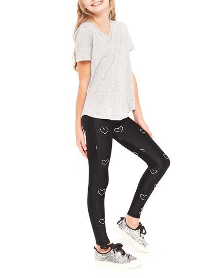 Outline Hearts Foil Printed Leggings, Size 7-16