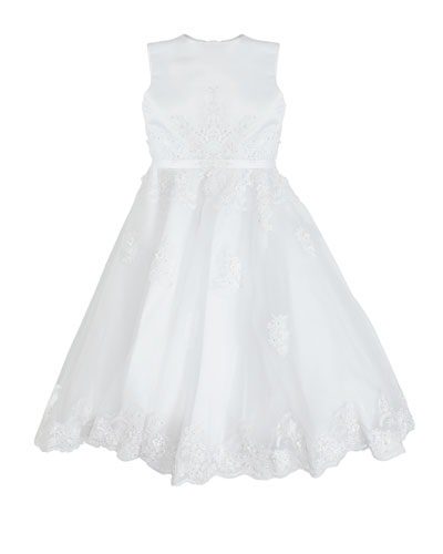 Hand-Beaded Lace Applique Dress  Size 5-12