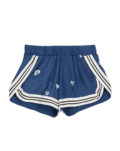 Heart-Print Shorts w/ Striped Taping  Size S-XL