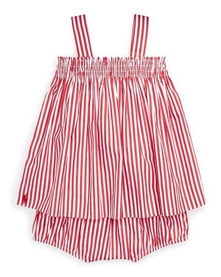 Shirred Bengal Stripe Dress w/ Matching Bloomers, Size 6-24 Months