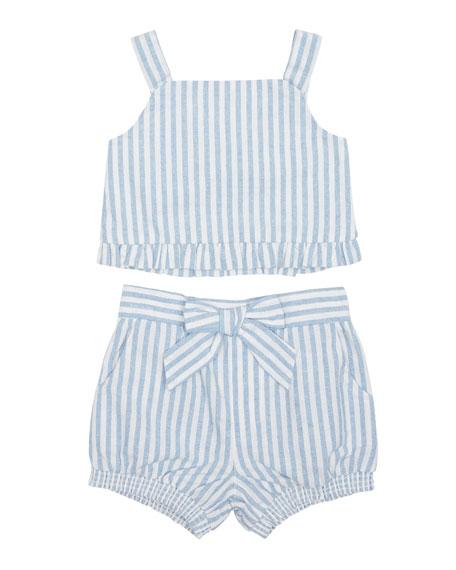 Luciana Stripe Sleeveless Top w/ Matching Shorts, Size 2-4T