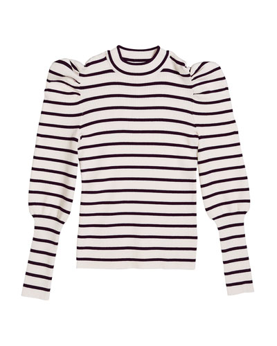 Girl's Eden Striped Puff-Sleeve Knit Top  Size 7-14