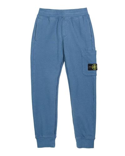 Boy's Sweatpants w/ Thigh Pocket & Logo Patch  Size 8-10