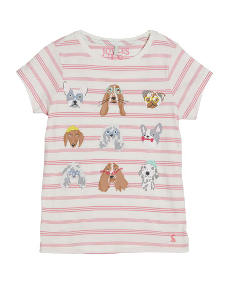 Astra Striped Dog Print Tee, Size 2-12