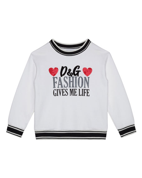 Girl's Fashion Gives Me Life Sweatshirt, Size 4-6