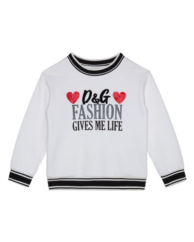 Girl's Fashion Gives Me Life Sweatshirt, Size 8-12