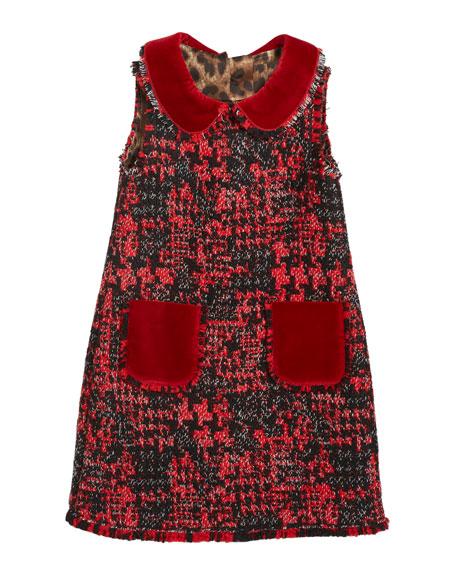 Girl's Sleeveless Tweed Dress w/ Velvet Details, Size 8-12