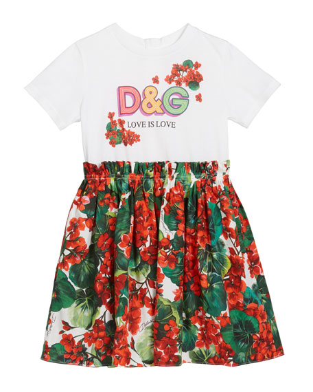Girl's DG T-Shirt & Floral Skirt Dress, Size 8-12