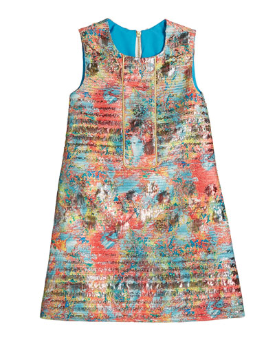 Sienna Garden Woven Metallic Jacquard Shift Dress  Size 7-16