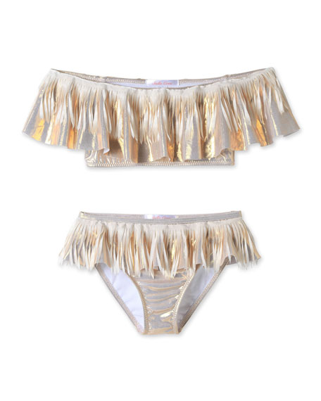 Image 1 of 1: Metallic Fringe Two-Piece Bikini Set, Size 4T-14