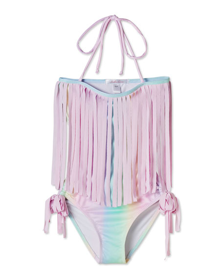 Image 1 of 1: Girls' Rainbow Open-Back One-Piece Swimsuit, 4T-14