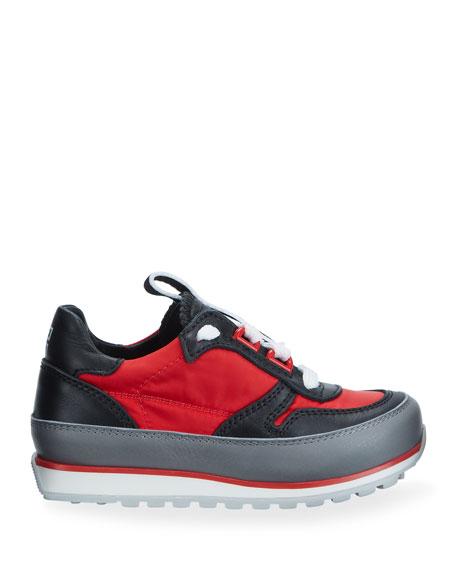 Boy's Colorblock Mixed Materials Logo Sneakers, Toddler