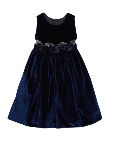 Sleeveless Velvet Dress With Rose Trim & Button-Back  Size 3T-8