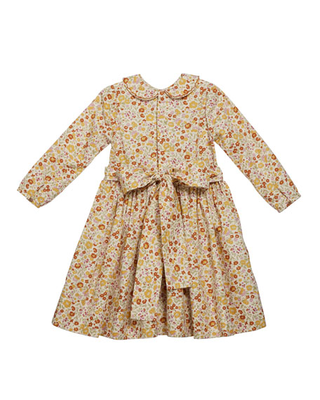 Girl's Long-Sleeve Smocked Floral Print Dress, Size 2T-6