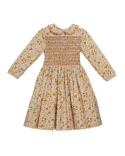Girl's Long-Sleeve Smocked Floral Print Dress  Size 2T-6