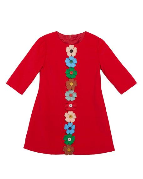 Flower-Embellished Corduroy Dress, Size 4-6