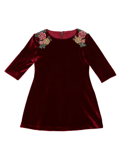 3/4-Sleeve Beaded Velvet Dress  Burgundy  Size 4-6