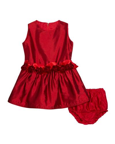 Girls' Silk Drop-Waist Dress  Size 12-24 Months
