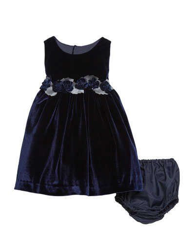 Sleeveless Velvet Holiday Dress w/ Rose Detailing  Navy  Size 12-24 Months