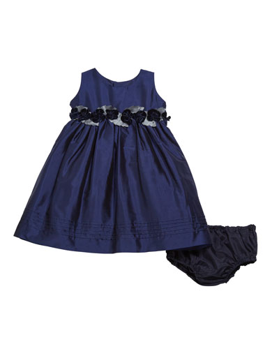 Sleeveless Taffeta Dress w/ Rose Detailing  Size 12-24 Months