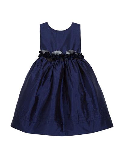 Sleeveless Silk Dress with Velvet Rose Detailing  Size 4-3T