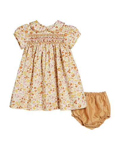 Hand-Embroidered Floral Peter Pan Collar Dress w/ Bloomers  Size 6-12 Months