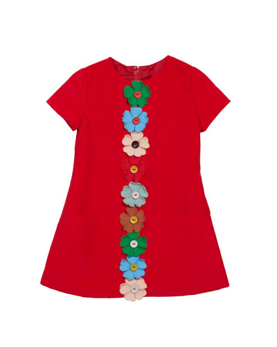 Flower-Embellished Corduroy Dress  Size 2-4T