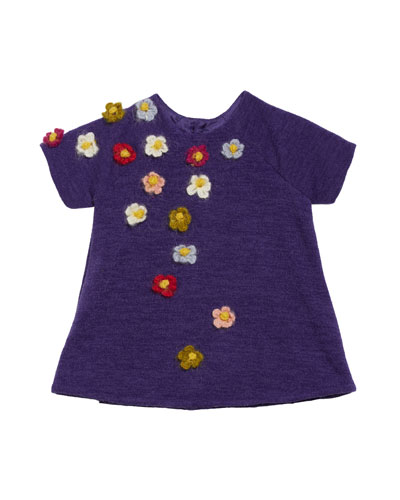 Flower Crocheted Knit Shift Dress  Size 6-18 Months