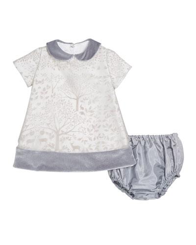 Winter Story Velvet-Trim Dress w/ Matching Bloomers  Size 12-24 Months