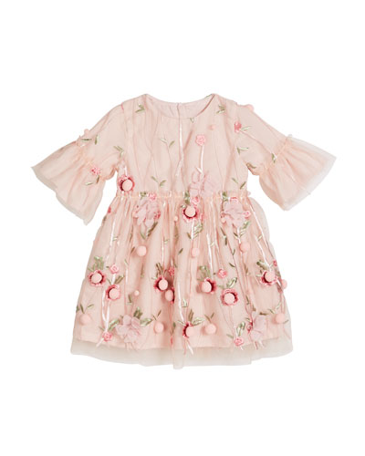 3D Flower Pompom Embroidered Dress  Size 12-24 Months