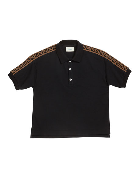 Boy's Logo Trim Polo Shirt, Size 10-14