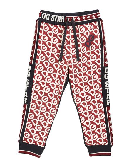 Kid's DG Print Jogger Pants, Size 4-6