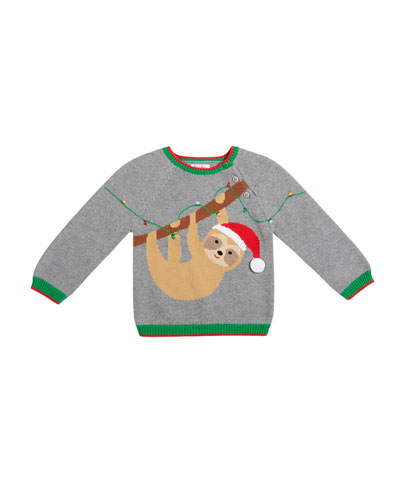 Boy's Sloth Intarsia Sweater  Size 12M-7
