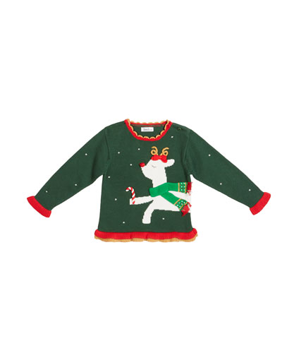 Girl's Reindeer Intarsia Holiday Sweater  Size 12M-7