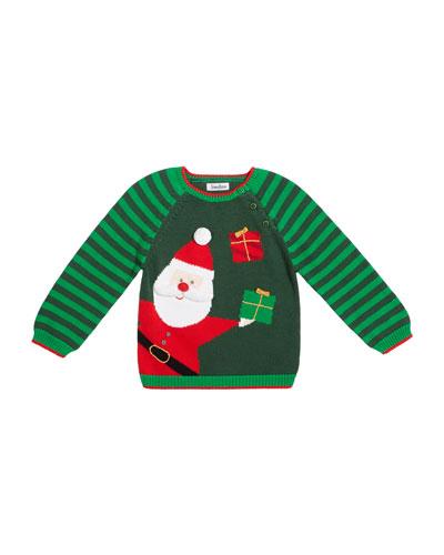 Boy's Santa Holiday Intarsia Sweater  Size 12M-7