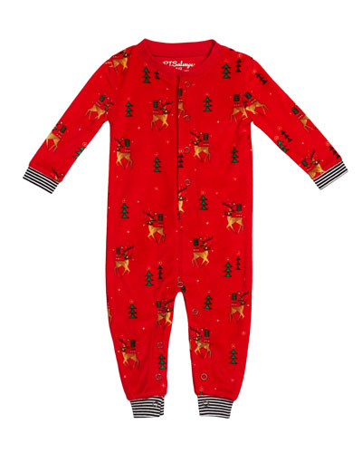 Reindeer Print Silky Velour Sleep Coverall, Size 3-18 Months