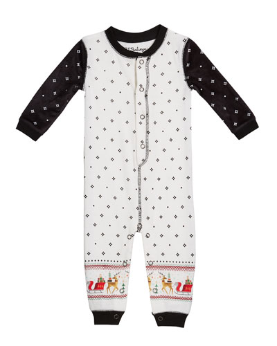 Two-Tone Sleigh Sleep Coverall, Size 3-18 Months