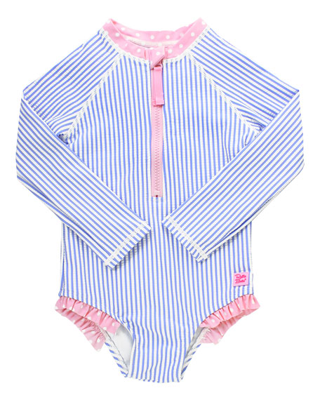 Girl's Striped One-Piece Rash Guard Swimsuit w/ Headband, Size 2T-8