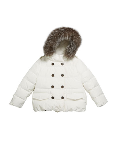 Girl's Quilted Coat w/ Fur Trim Hood  Size 12