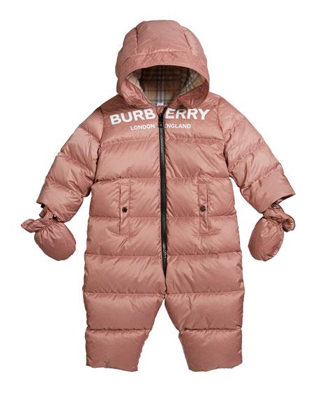 Kid's Skylar Quilted Logo Snowsuit, Size 6-18 Months