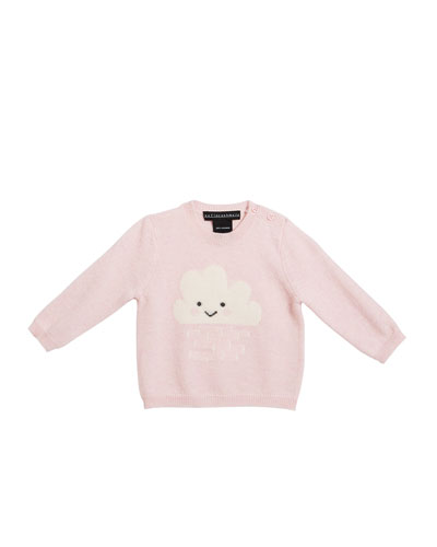 Girl's Crewneck Sweater with Smiling Cloud Intarsia  Size 3-24 Months