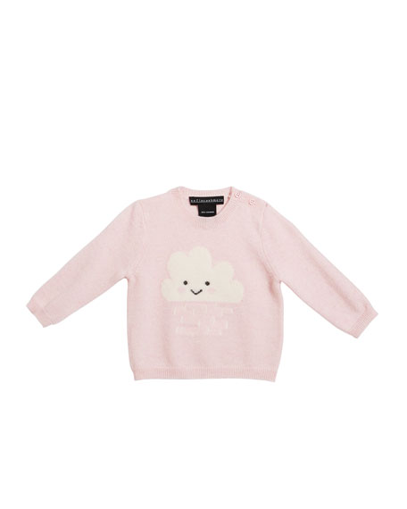 Girl's Crewneck Sweater with Smiling Cloud Intarsia, Size 3-24 Months