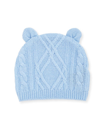 Argyle Cable Knit Beanie Hat w/ Bear Ears  Size 3-18 Months