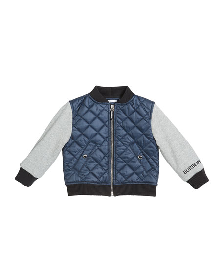 Girl's Mio Quilted Bomber Jacket w/ Fleece Sleeves, Size 12M-2